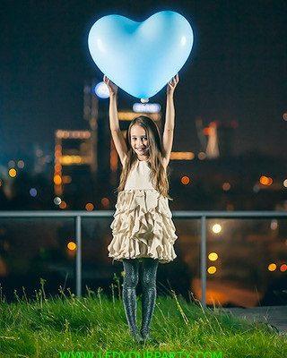 4 globos led grandes 60cm forma de corazón